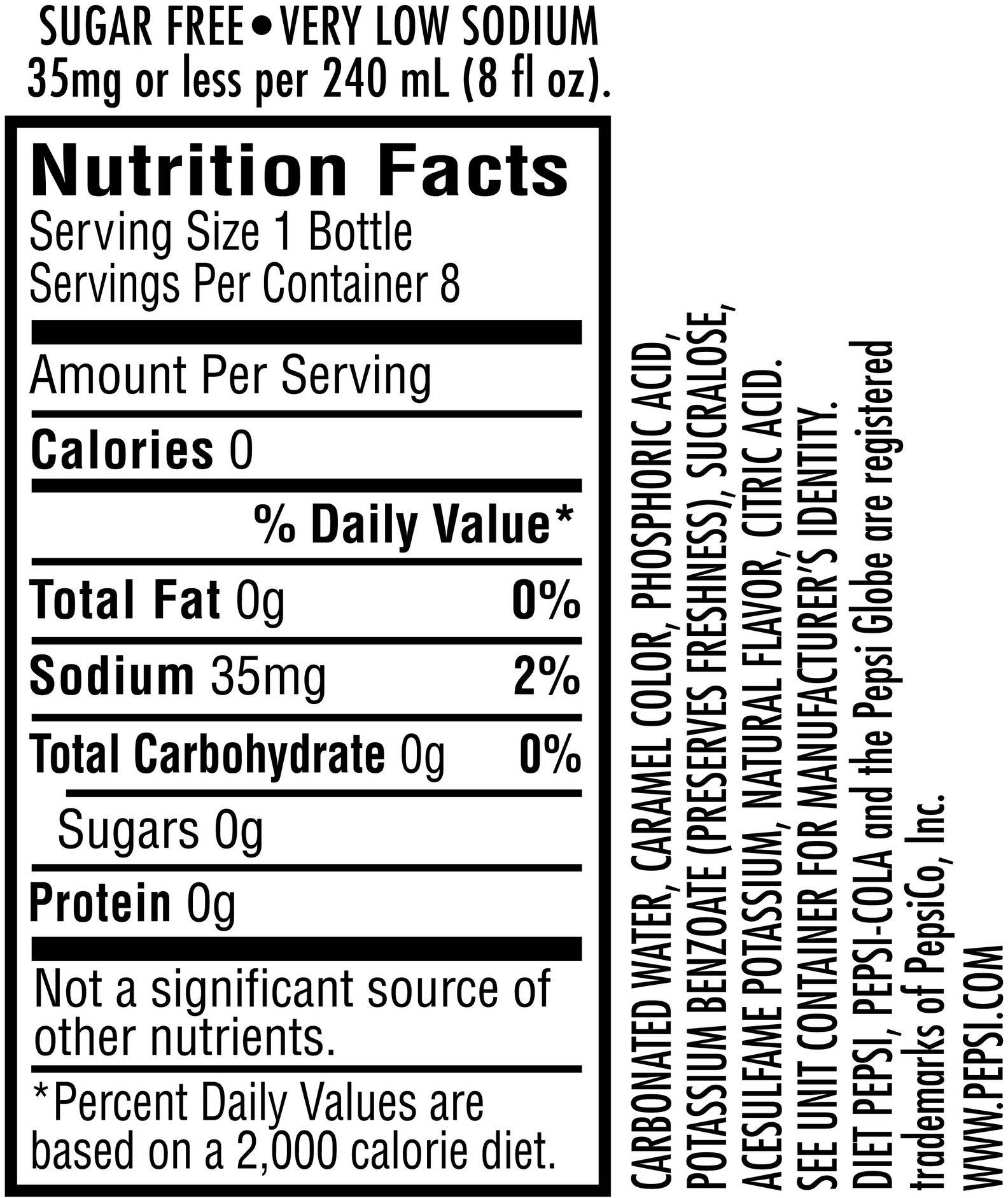 Image describing nutrition information for product Caffeine Free Diet Pepsi