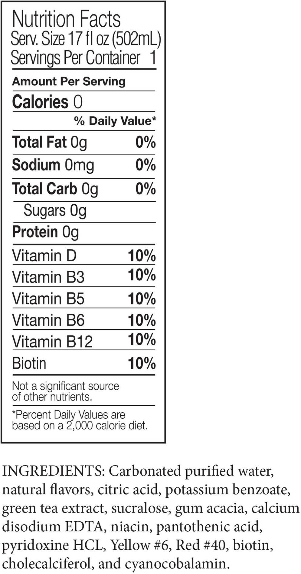 Image describing nutrition information for product Vita Ice Peach Mango